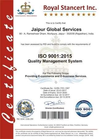 Jaipur Global Services - ISO Certificate